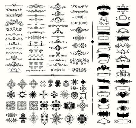 Éléments graphiques, diviseurs et monogramme, cadres, rubans, illustration vectorielle dessinés à la main