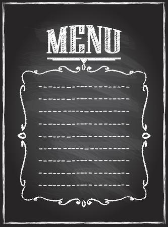 Chalk blackboard menu list, empty space for text Иллюстрация