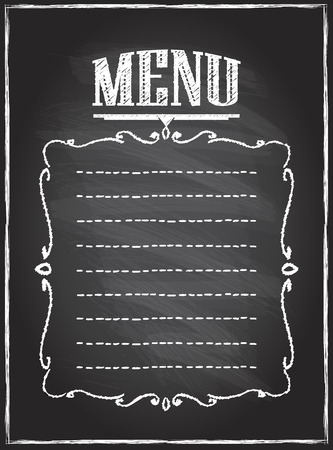 Chalk blackboard menu list, empty space for text Illustration