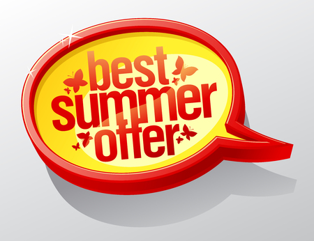Best summer offer sale symbol, speech bubble vector banner concept