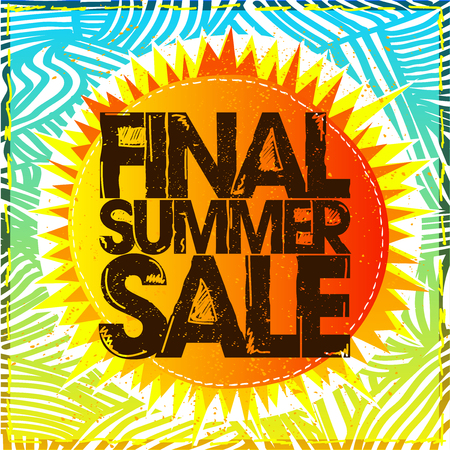 Final summer sale vector banner concept, ethnic style