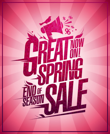 Great spring sale, end of season sale discounts, vector poster concept Illustration