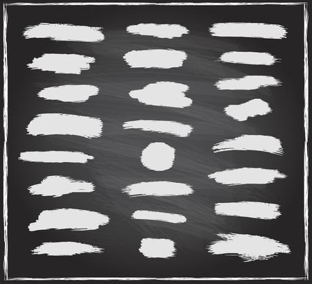 Chalk strokes set on a blackboard, hand drawn vector