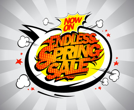 Endless spring sale poster design, fashion clearance banner