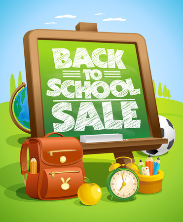 Back to school sale poster design with green chalkboard and school tools