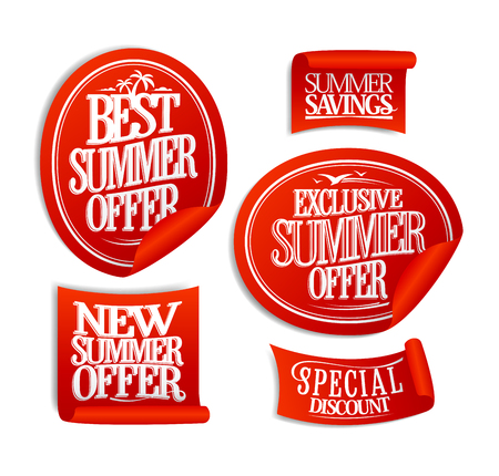 Best summer offer, new summer offer, exclusive and special offers, sale stickers set