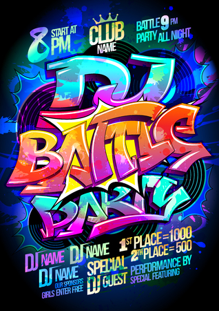 Dance battle party vector poster design concept Vettoriali