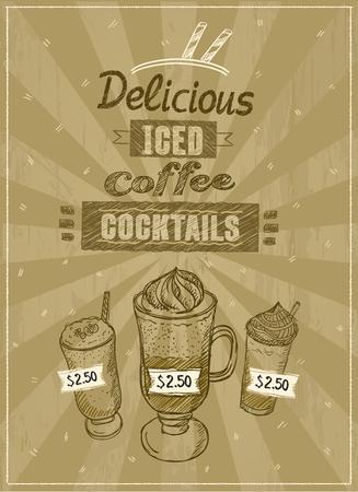 Iced coffee cocktails menu, hand drawn illustration, vintage style