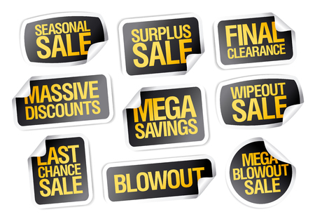 Sale stickers set - seasonal sale, final clearance, massive discounts, mega savings, last chance etc.
