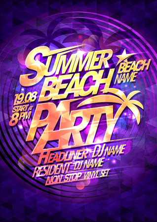 Summer beach party vector poster design, golden text Ilustração