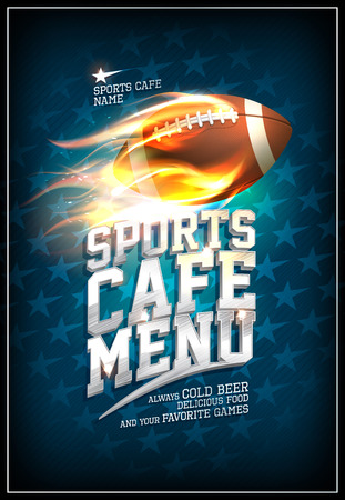 Sports cafe menu design concept with fiery leather rugby ball and background with stars
