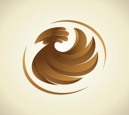 Brown hen sign, chicken logo design, agriculture symbol design concept