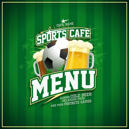 Diseño de portada de menú de cafetería deportiva, pelota de fútbol y cerveza.
