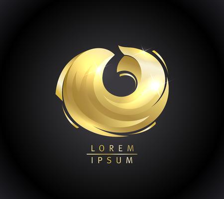Golden fish logotype vector concept Illustration
