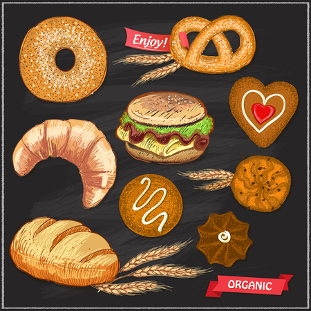Assorted pastry set illustration on a chalkboard - cookies, bread, bagel, croissant, pretzel and burger