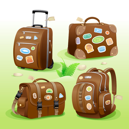 Traveling icons of a suitcase, bag, briefcase and backpack. Detailed vector items