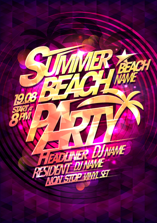 Summer beach party vector poster, multicolored bokeh lights and mosaic Reklamní fotografie - 114883046