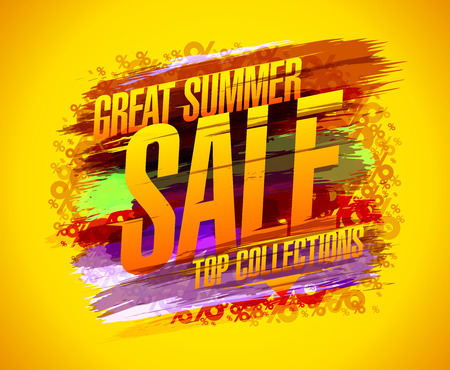 Great summer sale vector poster, top collections. Discounts banner with colored blots----- Archivio Fotografico - 105027751