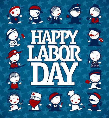 Happy Labor Day Kartenkonzept mit Figuren verschiedener Berufe Vektorgrafik