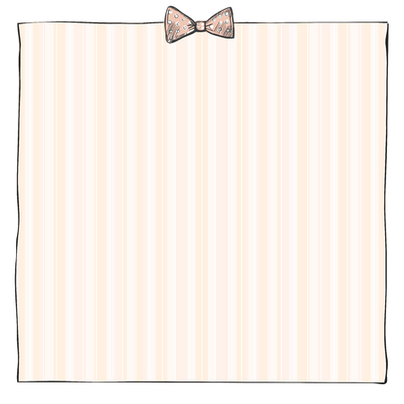 Doodle graphic simple frame with bow and striped background