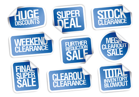 Sale stickers collection - huge discounts, super deal, clearance, weekend offers 向量圖像