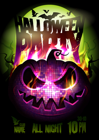 Halloween party vector poster design, burning pumpkin, full moon, fire flame, empty place for text