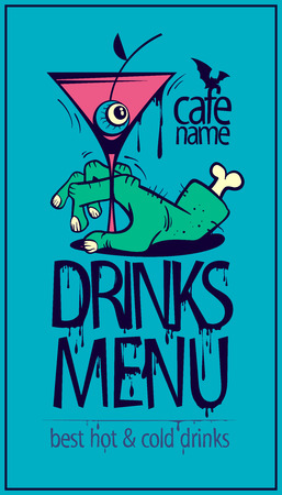 Drinks menu cover, halloween card design concept, zombie hand and martini Illustration