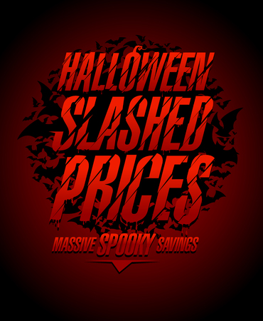 Halloween slashed prices vector sale poster concept