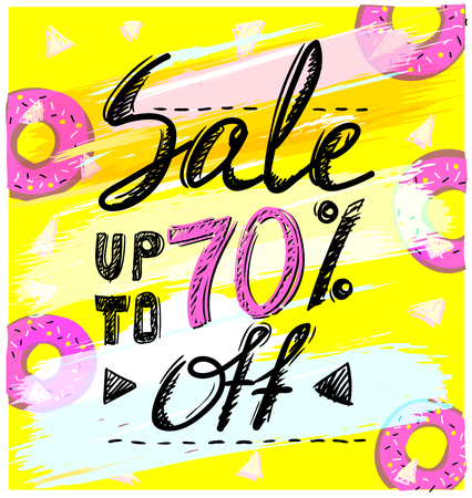 Sale up to 70 percents, hand drawn calligraphic vector banner concept Illustration