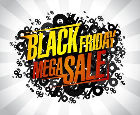 Black friday mega sale, vector banner concept Ilustracja