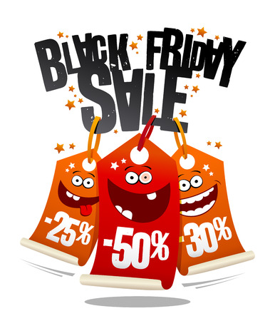 Black friday sale, funny vector banner concept with crazy price tags Ilustração