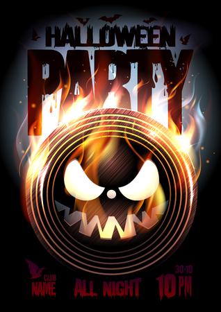 Cartel de fiesta de Halloween, vinilo en llamas espeluznante, copia espacio para texto
