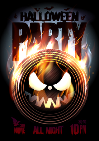 Halloween party poster, burning vinyl spooky, copy space for text