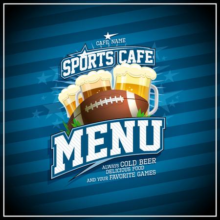 Diseño de tarjeta de menú de café deportivo, pelota de rugby y vasos de cerveza