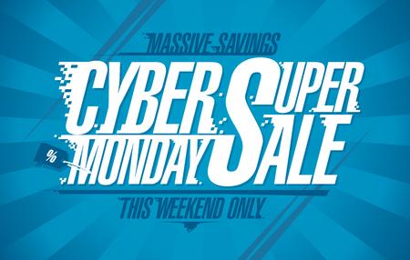 Cyber lundi super vente, conception de bannière de vecteur
