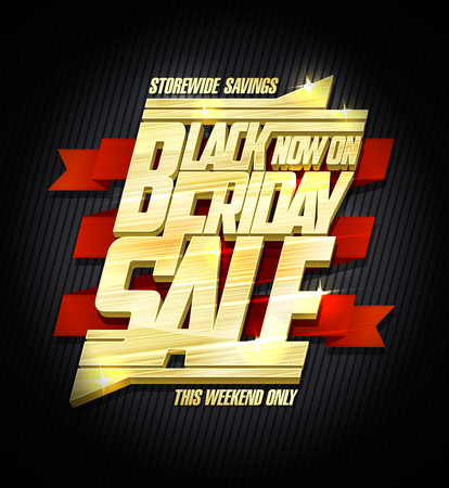 Black friday sale advertising poster concept, golden text