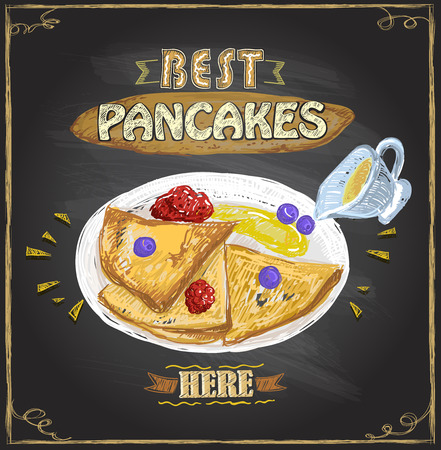 Best pancakes here, vector poster with pancakes served with berries on a plate Illustration