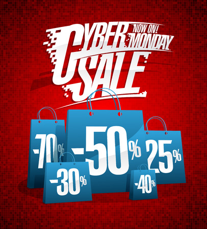 Cyber monday sale vector poster concept Illustration