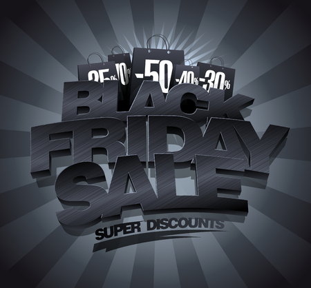 Black friday sale banner concept, vector illustration, 3d letters Stock Illustratie