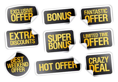 Sale stickers set - fantastic offer, crazy deal, hot offer, bonus, limited time offer, weekend offer Иллюстрация