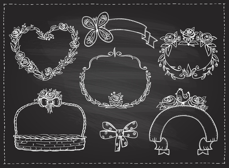 Floral frames set on a chalkboard, hand drawn graphic illustration Иллюстрация