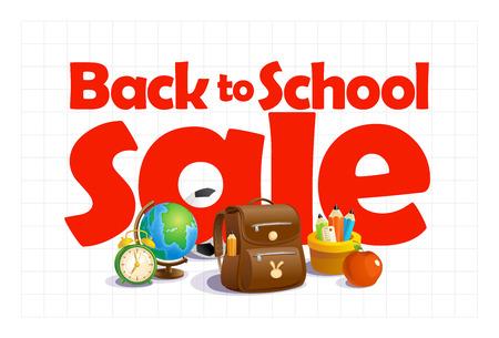 Back to school sale banner design concept Illustration