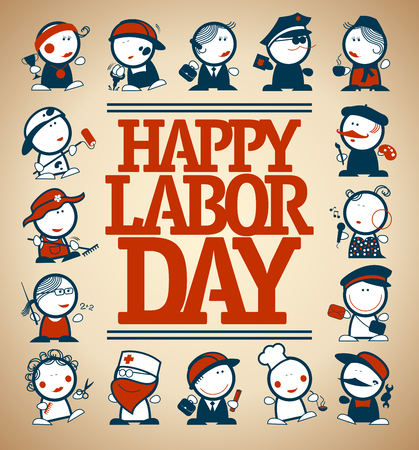 Happy labor day card design, vector illustration many figures of different professions Illustration