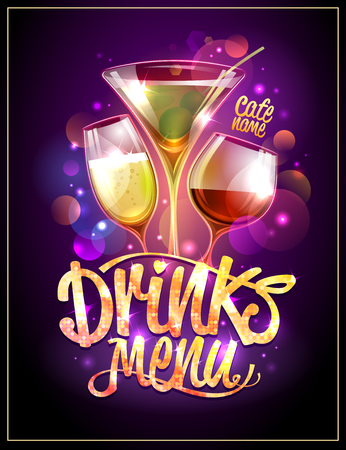 Drinks menu cover vector design, cocktails and disco sparkles Çizim