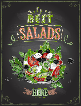 Best salads here, chalkboard menu with greek salad, hand drawn illustration