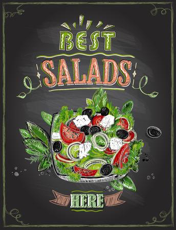 Best salads here, chalkboard menu with greek salad, hand drawn illustration Zdjęcie Seryjne - 111654052
