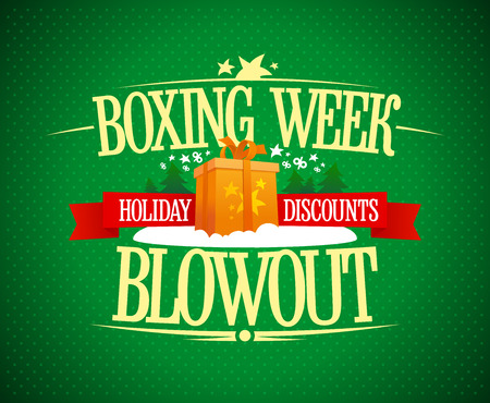 Boxing week blowout sale advertising poster, holiday discounts banner concept