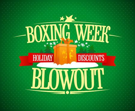 Cartel publicitario de venta de reventón de la semana del boxeo, concepto de banner de descuentos de vacaciones