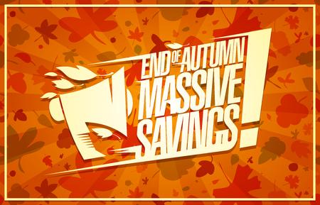 Venta de fin de otoño, cartel de vector de ahorro masivo