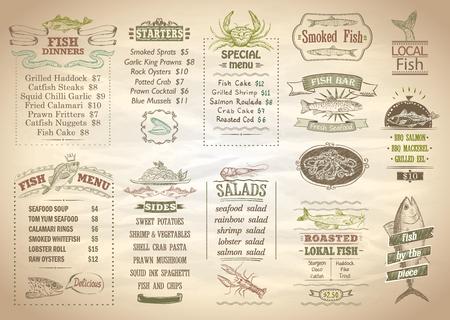 Fish menu set, seafood menu, copy space for text, hand drawn vector illustration